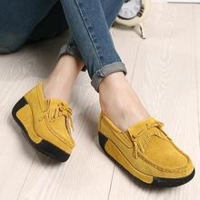 2016 spring women genuine leather suede ankle boots creeper shoes women platform wedge women casual shoes zapatos mujer 1319