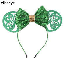 5 Sequin Bow New Minnie Mouse Ears Headband 2019 St Patrick Hairband For Girls Women Party Festival Headwear Hair Accessories