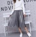El otoño y el invierno de plata cintura de la falda Una falda personaje negro metálico largo plisado de la falda