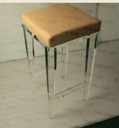 One Lux Lucite Custom Barstool Tapered Leg Square Top