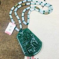 Zheru Jewelry Pure Natural Jasper Carved Squid Yuelong Door Pendant Three color Jadeite Bead Necklace Send Class A Certificate
