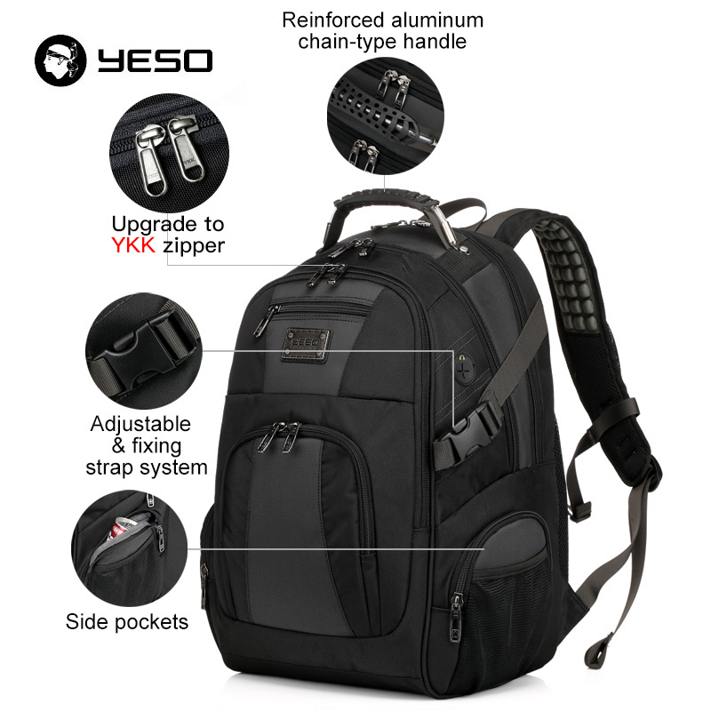 Image 3 - YESO Large Capacity Laptop Backpack Men Multifunction Waterproof 15.6inch Backpack For Teenagers Business Casual Travel Backpack-in Backpacks from Luggage & Bags