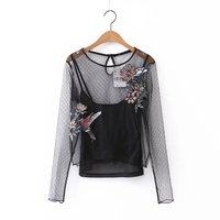 2017 Spring Summer O Neck Net Yarn Flower Bird Embroidery Women Tops Long Sleeve Lace Blouse