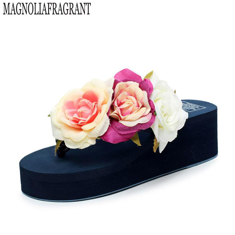 цены  Summer style women shoes muffin sandals flip flops slope with non-slip Rose high heels   slippers female zapatillas mujer s234