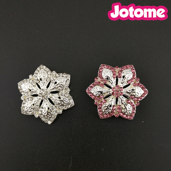 100pcs/lot Choose Color First, 30mm Little Pink And Clear Rhinestone Cute Flower Button Wedding Bouquet Accessories Brooch Pin