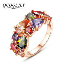 QCOOLJLY Unique Design Rose Gold Color Mona Lisa Ring for Female Wedding with AAA Colorful Cubic Zircon Bijouterie MF706
