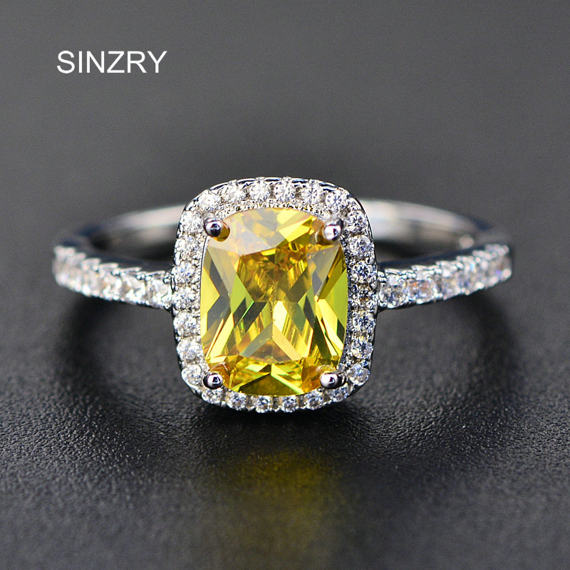 SINZRY Brand Jewelry Oval CZ Ring Top Square Brilliant cubic zironcia wedding ring for women costume jewelry accessory