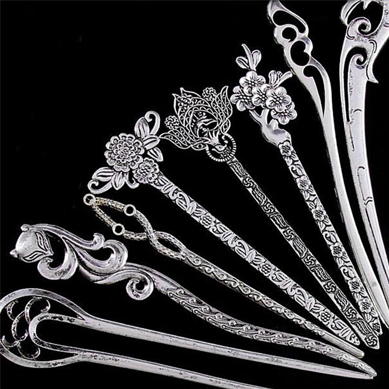 New Vintage Women Hair Sticks Pins Elegance Silver Alloy Geometric Girls Headbands Lady Gift Barrettes Hair Clip Accessories 1PC