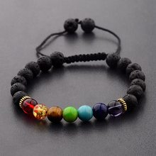 7 Chakra Colorful&Black Lava Stone Weave Braiding Bracelet Men Handmade Beads Bracelet For Women Jewelry AB217(China)