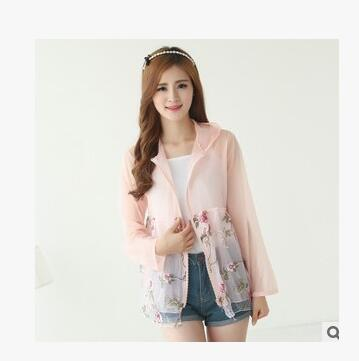 1pcs/lot free shipping korean style woman casual print sun protection coat lady casual summer beach sun-proof coat