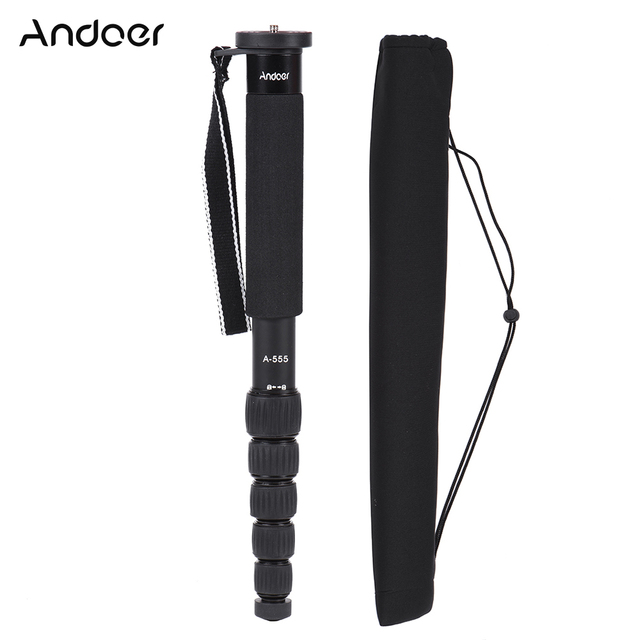 Andoer A-555 6-Section Monopod Compact Portable Photography Aluminum Alloy for Nikon Canon Sony Pentax Camera Max Load
