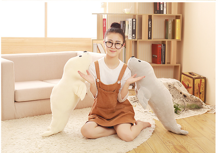 middle cute creative plush seal doll stuffed lovely soft seal toy gift about 80cm christmas theme figure model lovely plush doll soft cute stuffed toy 15 7 inch