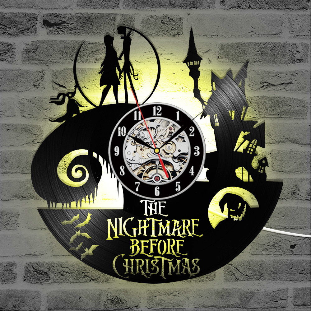 The Nightmare Before Christmas Theme CD Record Clock 3D Jack and ...