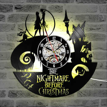 The Nightmare Before Christmas Theme CD Record Clock 3D Jack and Sally Film Hanging LED Wall Clock