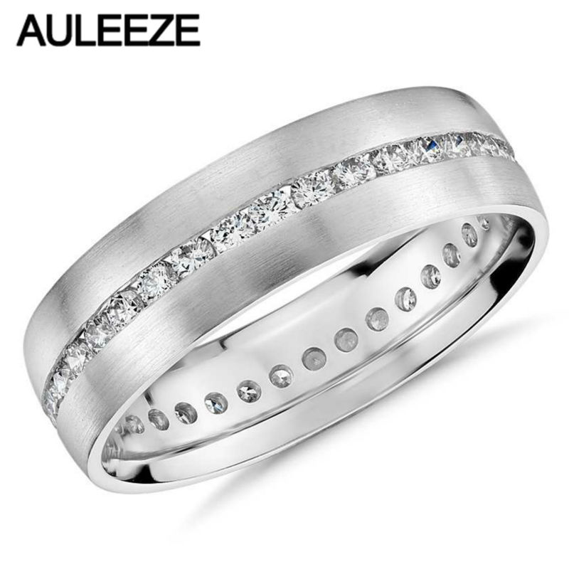 Solid 14k White Gold Eternity Wedding Band Channel-Set Moissanites Lab Grown Diamond Engagement Ring 585 White Gold Mens Ring aeaw lab grown diamond moissanites engagement bangle solid 10k white gold bracelets for women wedding fine jewelry
