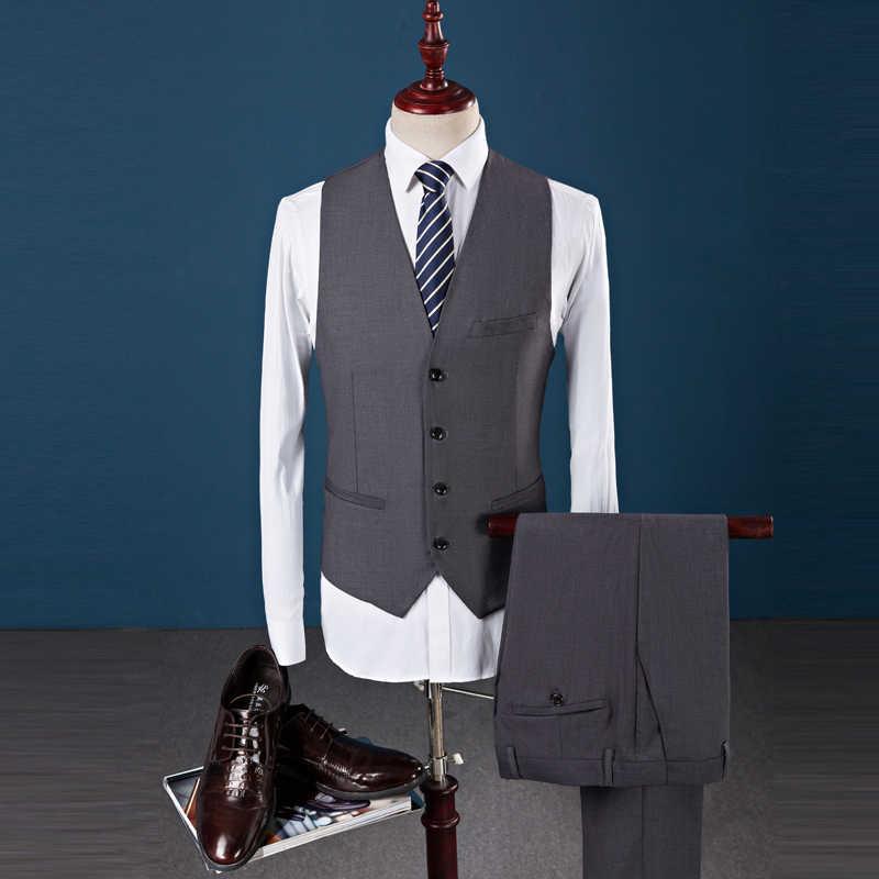 2018カスタムブレザーの男性のスーツの上着ビジネスウェディングパーティー白いスーツterno masculino結婚式新郎男性ブレザー3ピース