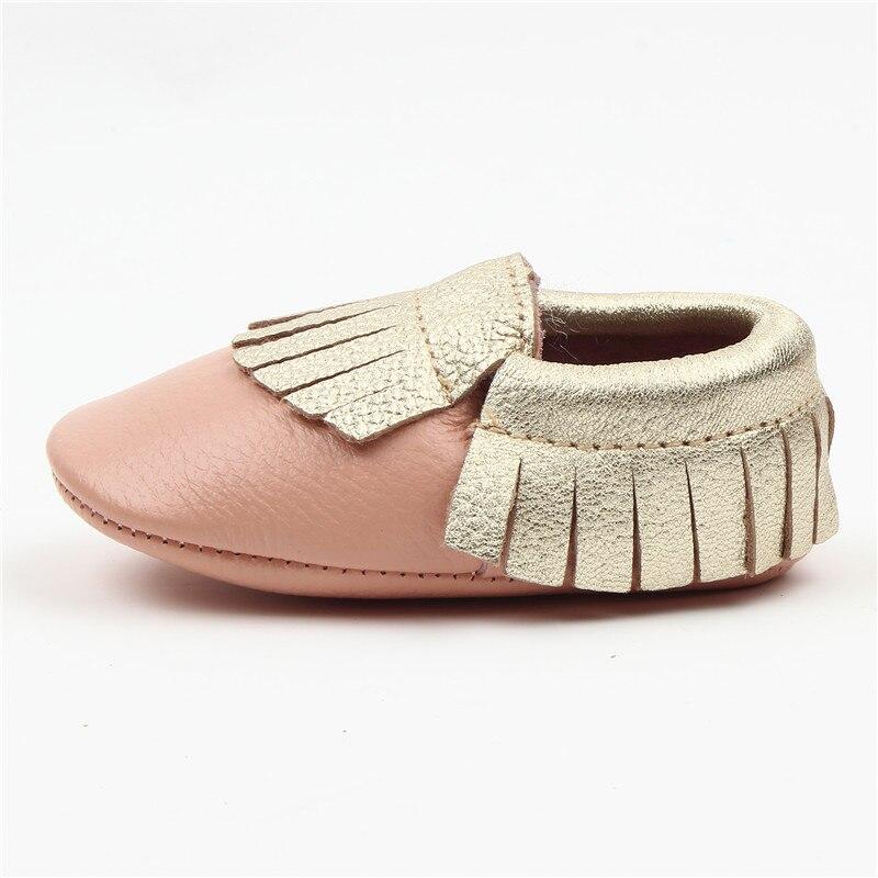 Baby Girls Boys Soft Sole Leather Infant Toddler Moccasins Fringe Tassel Shoes gold First Walker