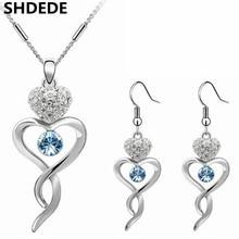 2016 Мода Ювелирные Наборы Ожерелье Серьги Для Женщин Высокого Качества Кристалл Белый Позолоченный Комплект Ювелирных Изделий Подарок