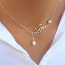 Fashion Imitation Pearl Pendant Necklace Leaf Drops Cross Necklace For Women Wedding Bride Jewelry Party Gift(China)