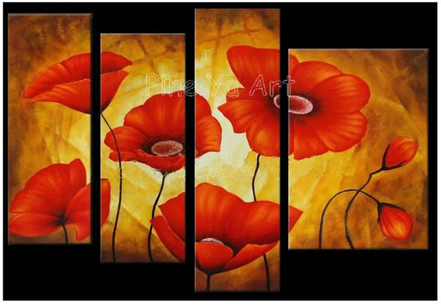 4 panel large cheap modern abstract wall art handmade red poppy ...