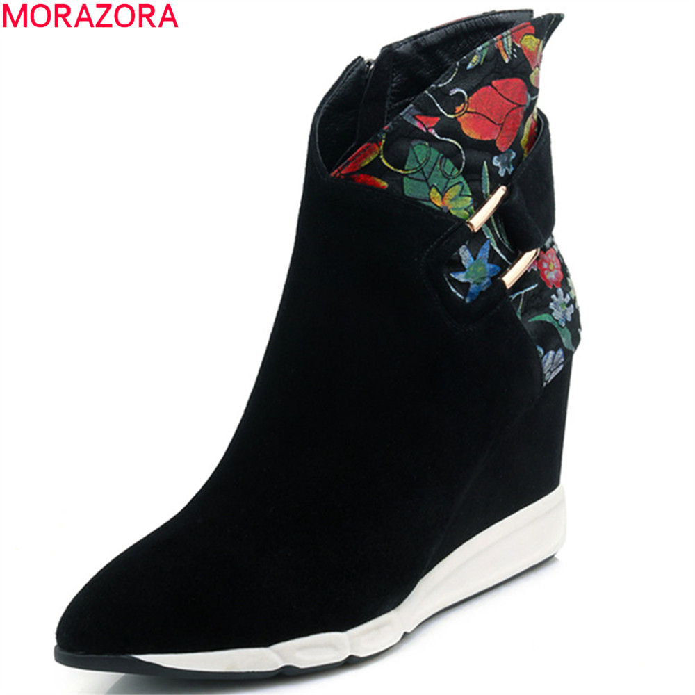 MORAZORA fashion autumn winter women boots pointed toe zipper kid suede boots wedges leather black ankle boots new arrival black leather and suede ankle boots women pointed toe short boots wedges boots metal buckles decorated free shipping