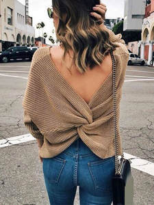 Knitted Pullover Clothing Jumper Sexy Sweater Autumn Women Plus-Size V-Neck Long-Sleeve