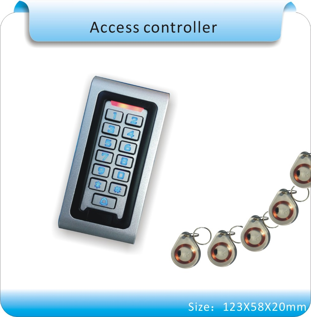 Free shipping metal case 125KHZ RFID +keyboard access control system +10pcs crystal keyfobs free shipping 10pcs cq0565rt