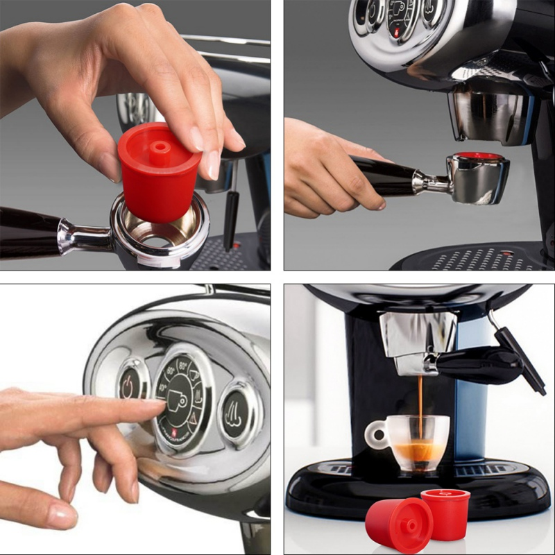 Stainless Steel Plastic Reusable Coffee Filter Refillable Capsule Cup For Illy Coffeemaker Random Colour