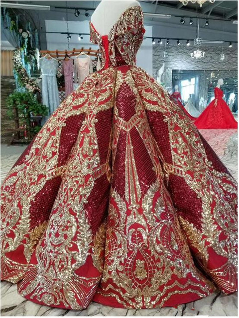2019 Luxury Floor Length Queen Dress Red Satin Ball Gown Golden Sequin Lace Party Dresses Real Sample Quinceanera Dresses 1