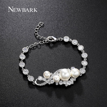 NEWBARK Brand Bracelets For Women Charming Simulated Pearl With Top Cubic Zircon Paved Bracelet Femme