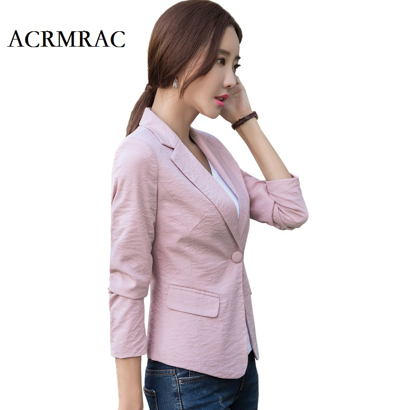 ACRMRAC Women s clothing Long sleeves Slim Single Button casual suits jacket