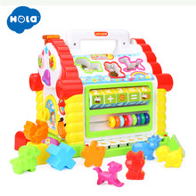 HOLA 739 Multifunctional Musical Toys Baby Fun House Musical Electronic Geometric Blocks Sorting Learning Educational Toys Gifts(China)