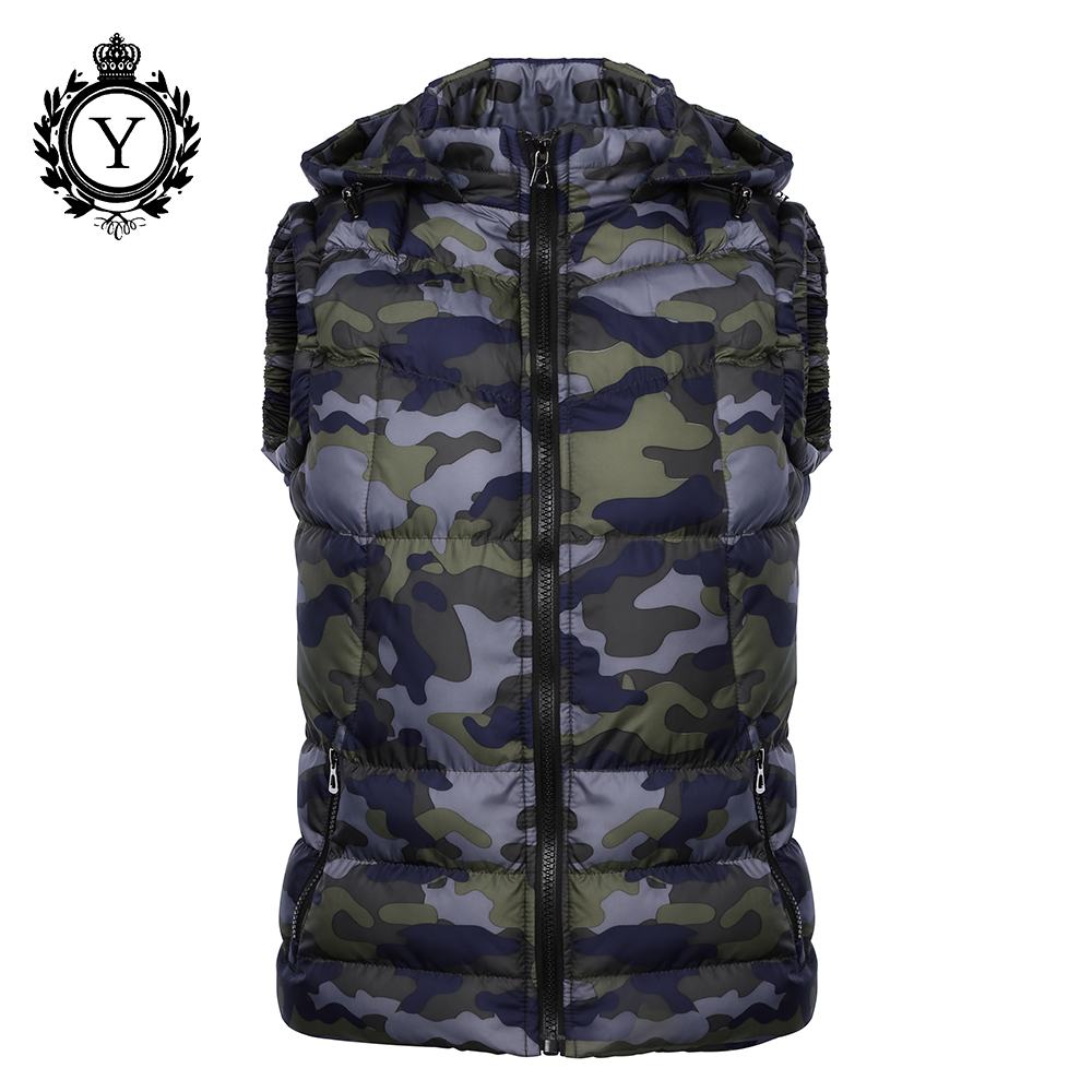 COUTUDI New 2017 Winter Jackets Vest Hoody Camouflage Printed Down Cotton Jacket Coats Short Sleeveless Quality Mens Warm Vests