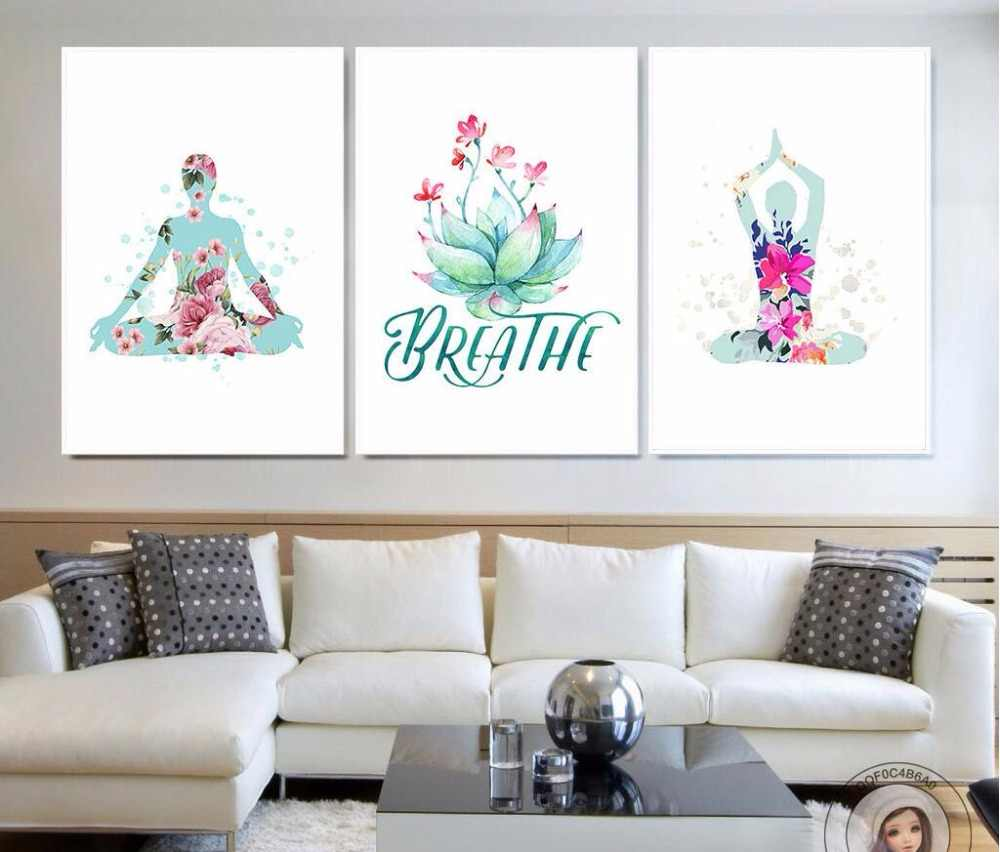 Nordic Art  Creative watercolor yoga flower A4 Canvas Painting Art Print Poster Photo Wall Interior Bedroom Decoration 710