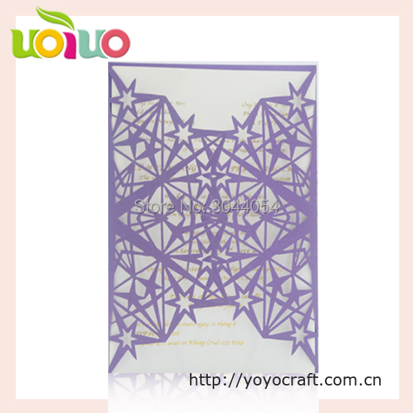Us 36 5 50pcs Unique Star Laser Wedding Invitation Card Custom Size Sample Birthday Invitation Card For Decoration In Cards Invitations From Home