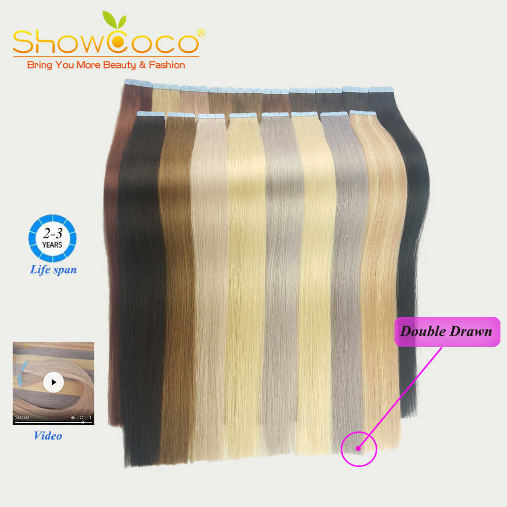 ShowCoco double drawn tape in hair extensions human hair premium Luxury virgin hair invisible fashion tape ins full thick end