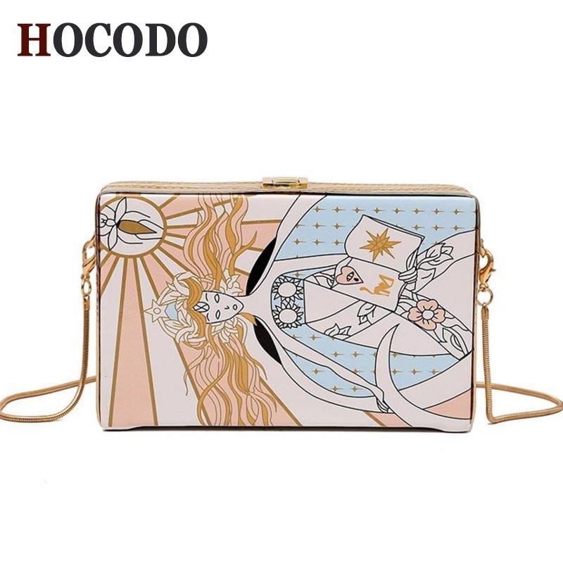 HOCODO Printing Box Women Messenger Bags Personality Chain Shoulder Bag PU Leather Clutch Fashion Female Small Crossbody Bag Sac