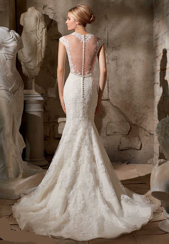 2017 Lique Cap Sleeve Lace Bridal Gown Mermaid Style Wedding Dress See Through New Vestido De Noivas In Dresses From Weddings Events