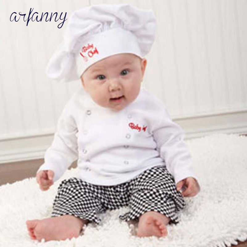 ARFANNY Boys <font><b>Baby</b></font> Clothes Party Cute Chef Stylingbaby boy suit hat plaid series double breasted 0-1-2 years infant <font><b>clothing</b></font> Set image
