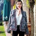 Casaco de tweed das mulheres de alta qualidade 2016 nova runway outono inverno moda malha borla tecido tweed Outerwear jaqueta casaco