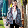 high quality women's tweed jacket 2016 new autumn winter runway fashion knitted tweed fabric tassel jacket Outerwear coat