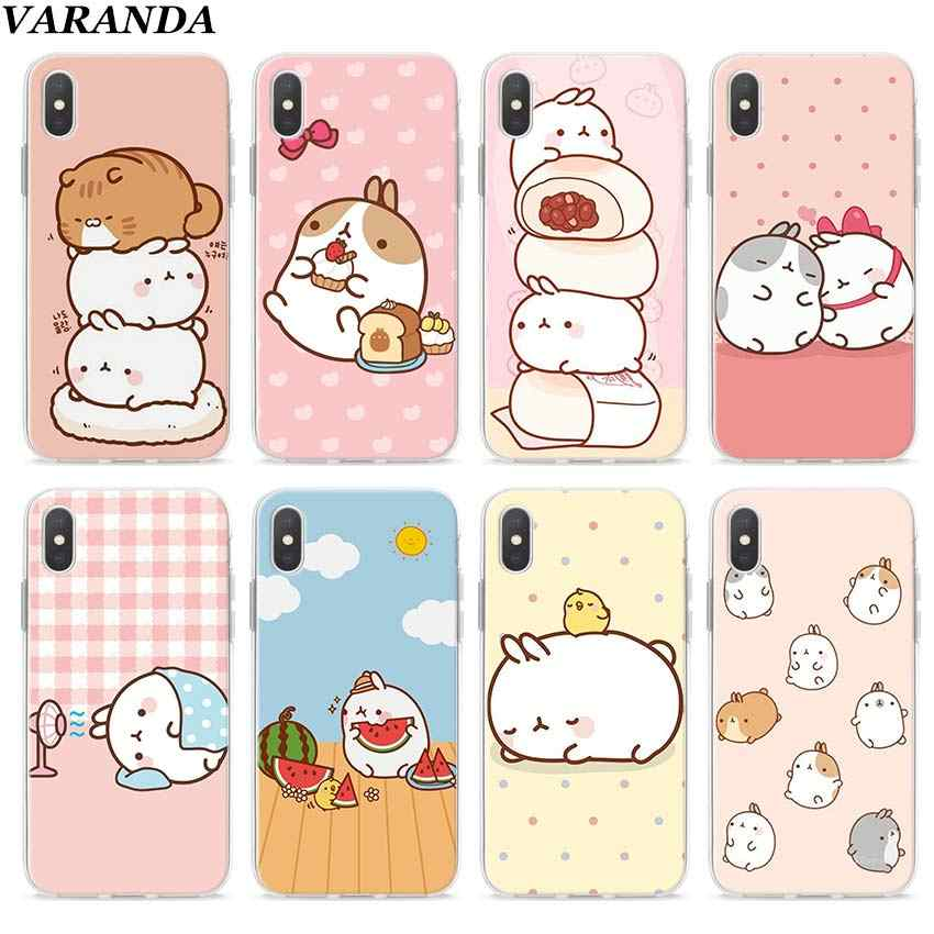 Molang coelhos Mais Bonito Kawaii Caixa Caso Claro para Apple iPhone 7 8 Plus 6 6s Plus 5 5S X XR XS MAX TPU Soft casos Coque