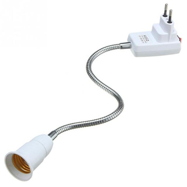 AC 110-220V 6A E27 Light Lamp Bulb Holder Flexible Extension Converter Switch Adapter Socket 20cm-50cm  EU/US Plug