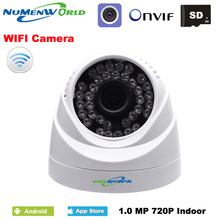 WIFI IP dome camera 720P wireless Security CCTV webcam with night vision SD card slot use for indoor support smartphone view