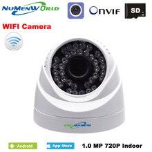 Wifi ip dome câmera 720 p sem fio de segurança cctv webcam com visão noturna slot para cartão sd uso para suporte interno smartphone vista