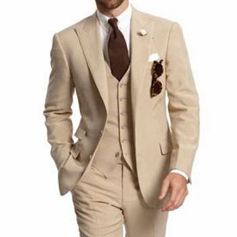 Khaki Groom Tuxedos For Wedding Prom Men Suits Peaked Lapel Slim Fit Mens Fashion 3 Piece Set Jacket Pants Vest Male Clothes