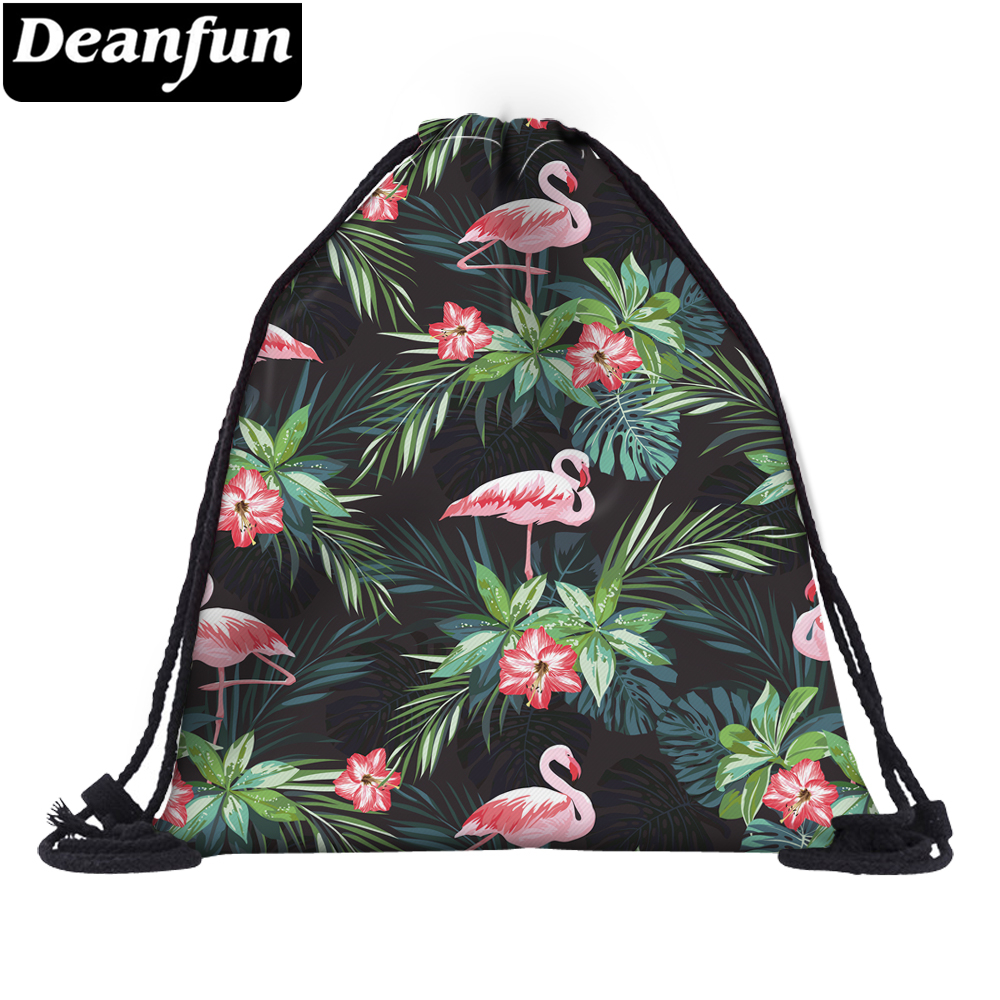 Deanfun Women Flamingo Drawstring Bag 3D Printing Girls School Bags 60146