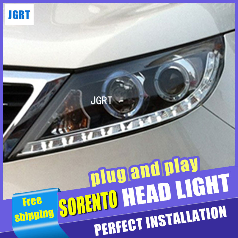 Car Styling LED Head Lamp for Kia Sorento Headlight assembly 2011 Sorento LED Headlight angel headlight h7 with hid kit 2 pcs.