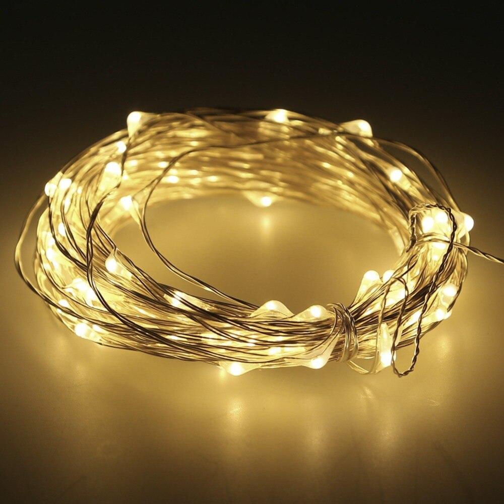 LED String Light 10m 100leds Silver Wire Fairy Lights med 12V 1A - Festlig belysning - Foto 2