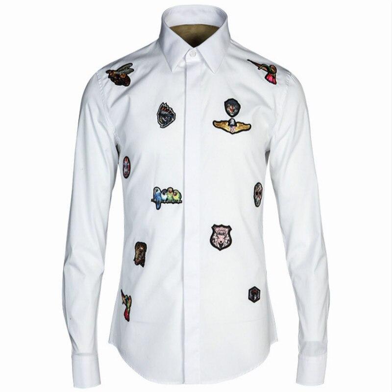2018 Nuovi Uomini Di Lusso Shirt Romanzo 3d Distintivo Del Ricamo Camicie Di Cotone Casuale Del Lungo-manicotto Slim Fit Maglietta Hombre Marca Abbigliamento